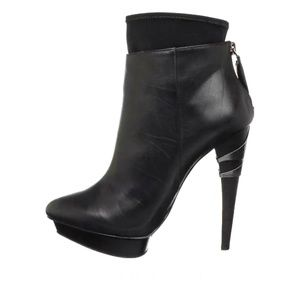 Designer Leather Ankle High Heeled Booties